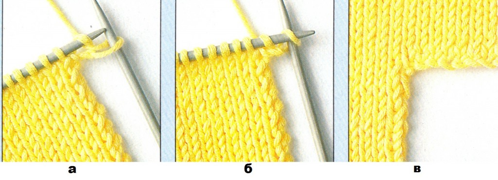 Набор петель на спицах в середине вязания