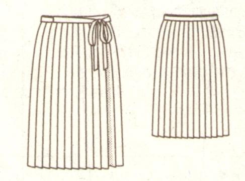 Плиссированная юбка с запахом эскиз