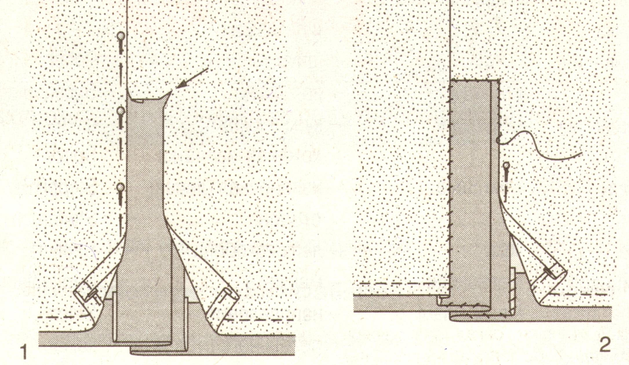 Обработка юбки подкладкой со шлицей