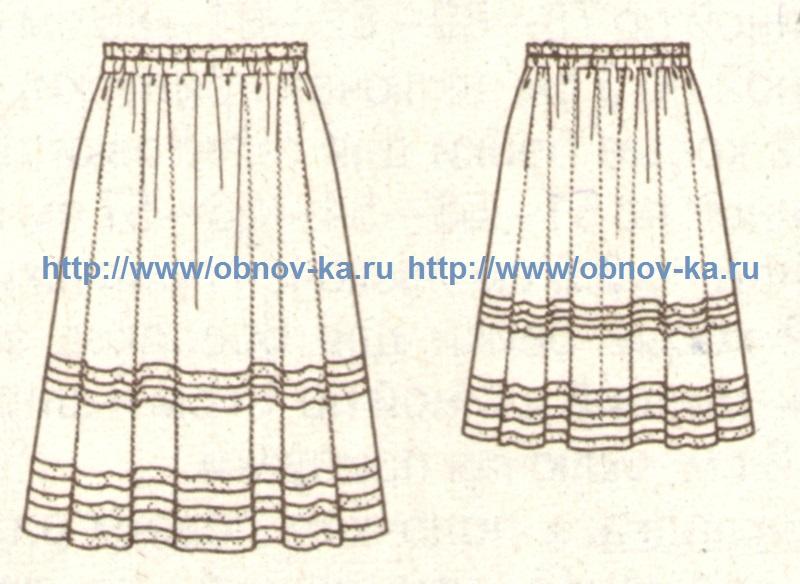 Летняя юбка из органзы с кружевом (эскиз)