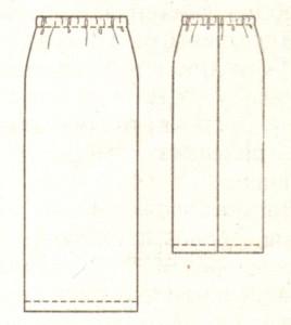 Прямая длинная юбка эскиз