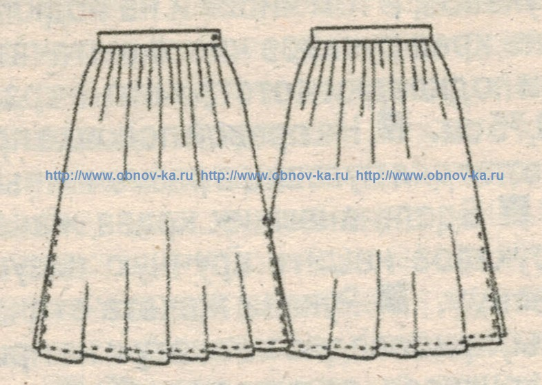 Юбка миди со складками у талии эскиз