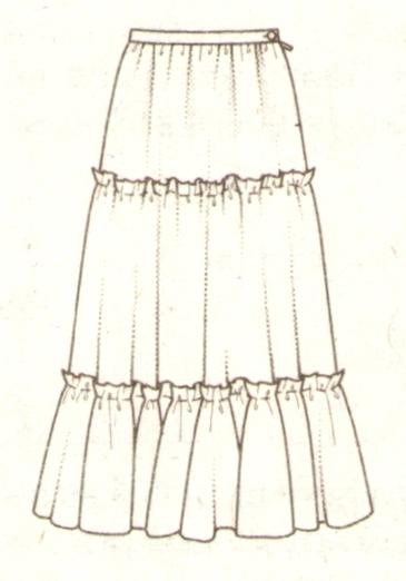 длинная юбка в три яруса