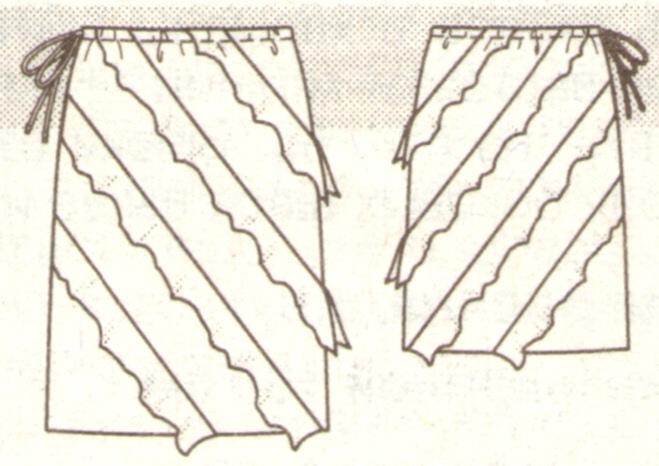 Прямая юбка с оборками под диаогонали эскиз