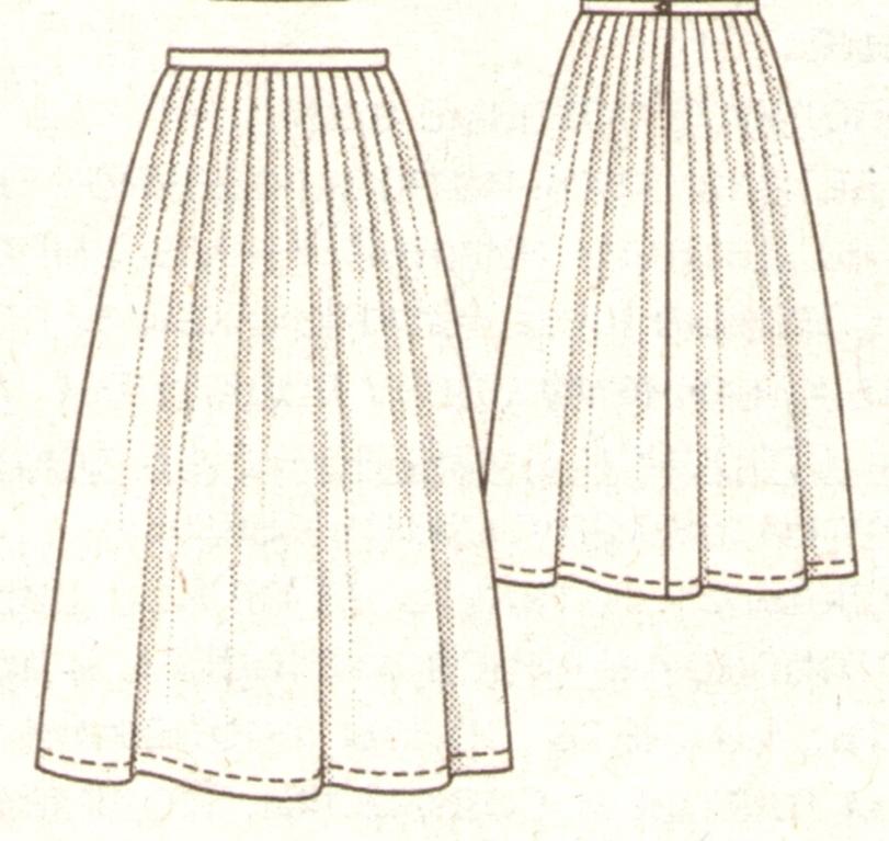 Длинная юбка с мягкими складочками эскиз