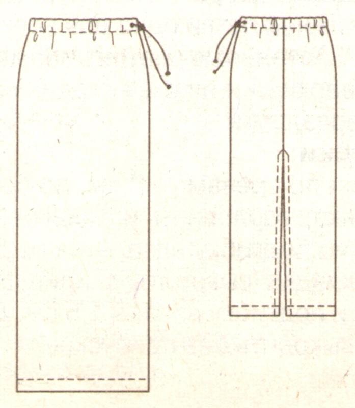 Прямая юбка из флиса эскиз