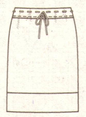 Прямая юбка с вязаным поясом эскиз