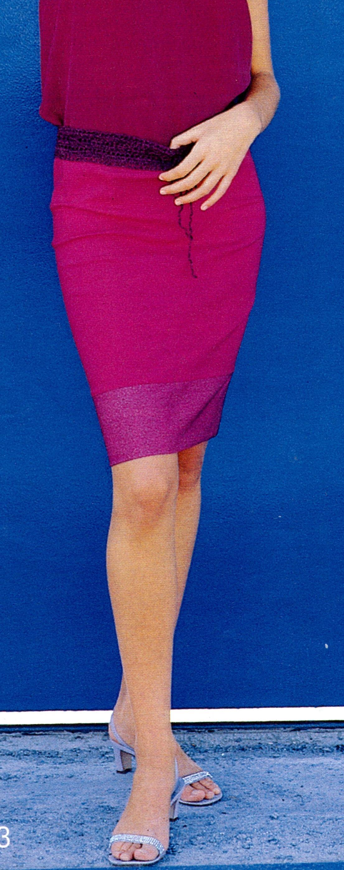 Прямая юбка с вязаным поясом
