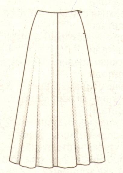 Длинная юбка четырехклинка эскиз