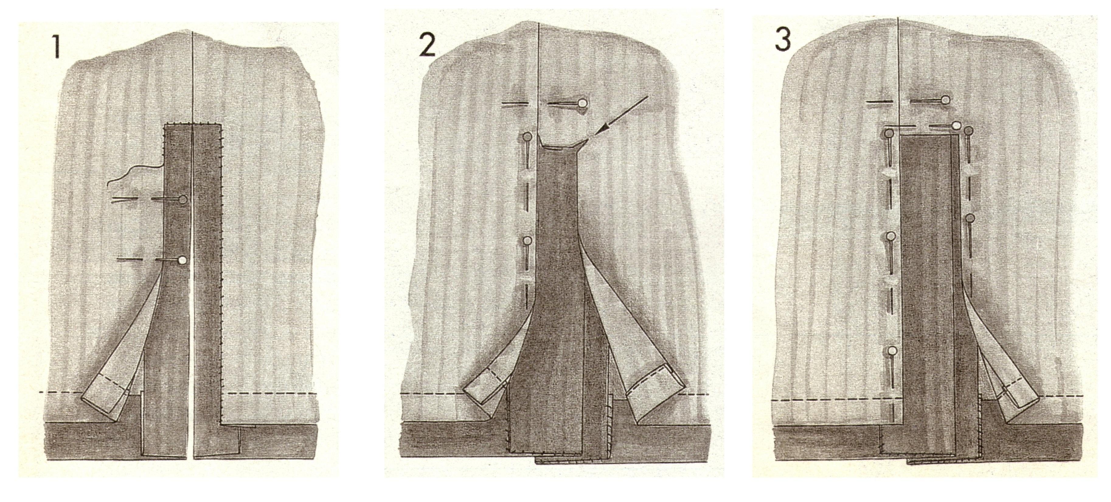 Подкладка на участке разреза на юбке (1-3)