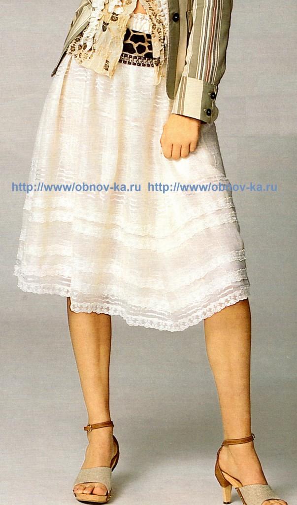Летняя юбка из органзы с кружевом (c)