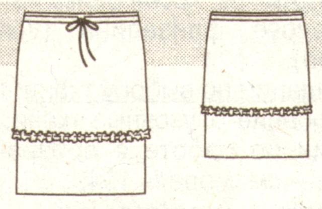 Прямая юбка из джерси и шифона эскиз