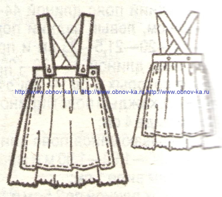 Летняя юбка для девочки с бретелями 'эскиз