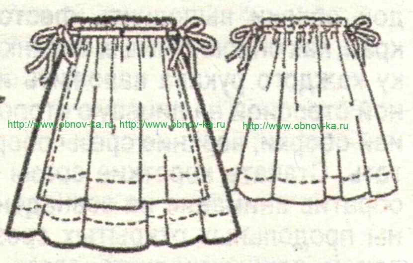 Юбка для девочки с фартуком эскиз